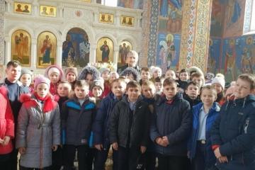 Урок в храме св. Феодора Ушакова для учащихся5-х классов Новофедоровской школы-лицея